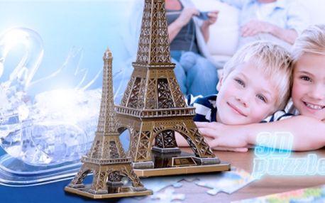 REVOLUČNÍ ZÁBAVA! 3D PUZZLE! Na výběr ze 2 variant: Eiffelova věž nebo Křišťálová labuť s podsvícením!