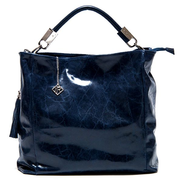 Dámská lesklá modrá kabelka se střapci Isabella Rhea
