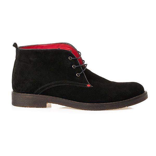 Pánské kožené černé prošívané kotníkové boty Crash Shoes