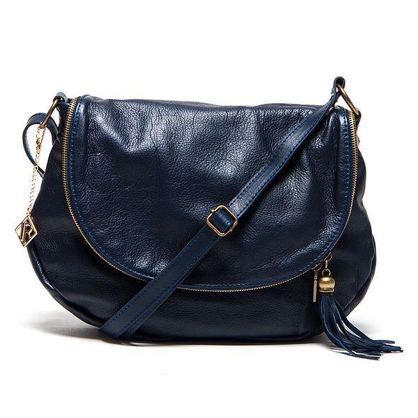Dámská tmavě modrá kožená kabelka s přívěskem a střapcem Isabella Rhea