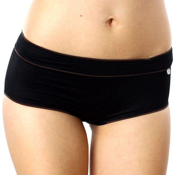 Dámské černé kalhotky s hnědými detaily DKNY