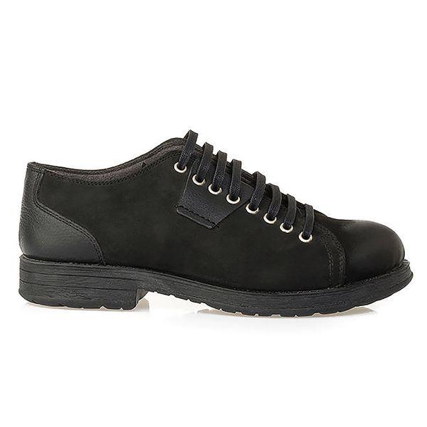 Pánské černé šněrovací boty z kůže Crash Shoes