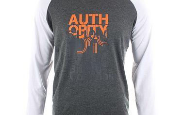 Pánské šedobílé triko s potiskem Authority