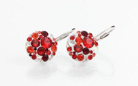 Dámské decentní náušnice s červenými krystaly Laura Bruni