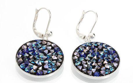 Dámské kulaté náušnice s krystaly v modré barvě Laura Bruni