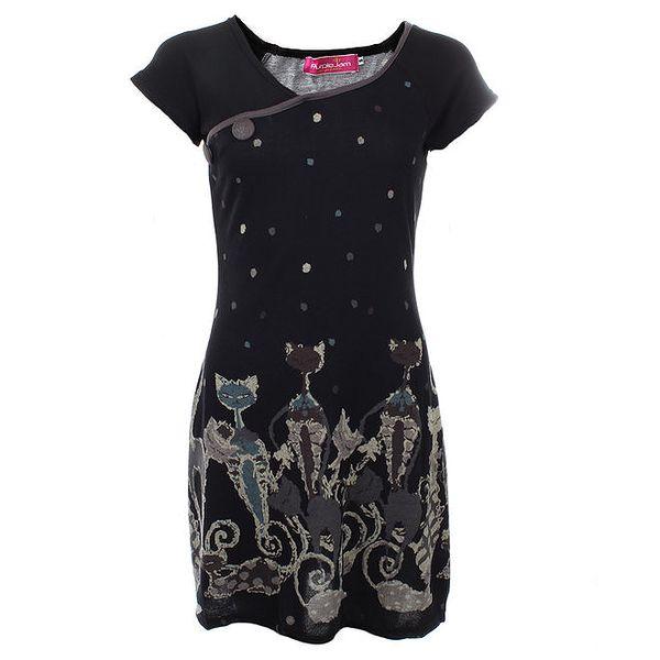 Dámské černé šaty s kočkami Purple Jam