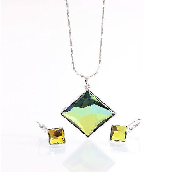 Dámský set náušnic a náhrdelníku ve tvaru kosočtverce Laura Bruni