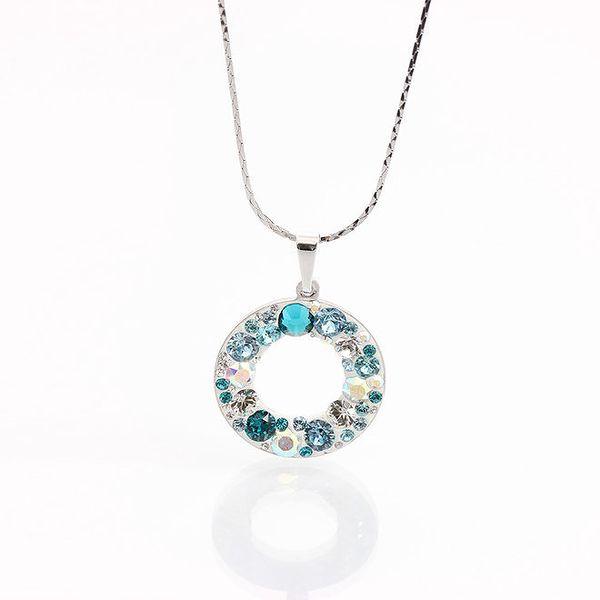 Dámský náhrdelník s kroužkem a tyrkysovými krystaly Laura Bruni