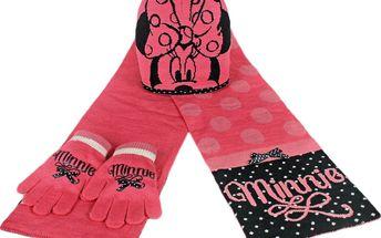 Dívčí zimní set Minnie - rukavice, šála, čepice