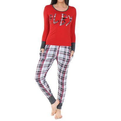 Dámské pyžamo s červeným tričkem a károvanými kalhotami Playboy
