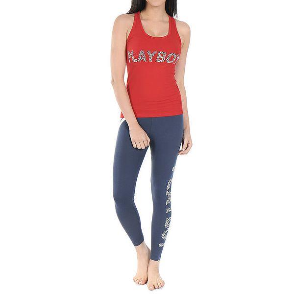 Dámské pyžamo Playboy - červené tílko a modré legíny s leopardím potiskem