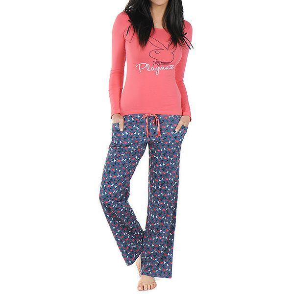 Dámské pyžamo s korálovým tričkem Playboy