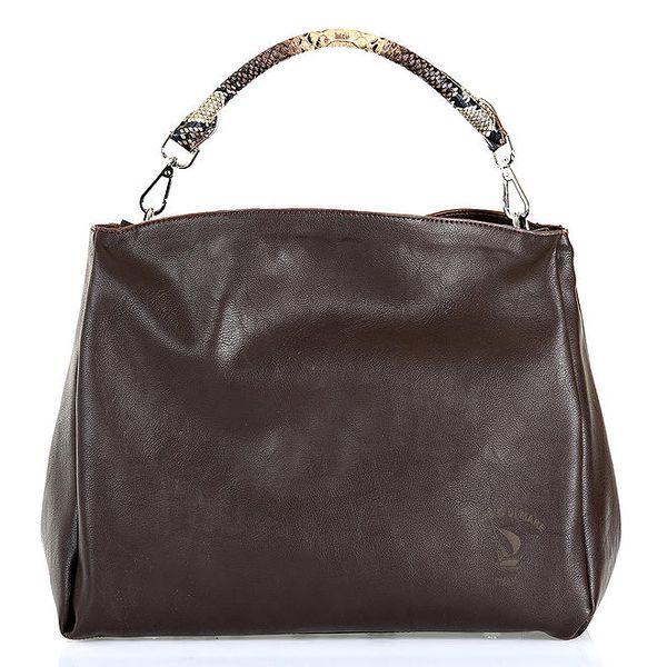 Dámská tmavě hnědá kabelka se vzorovaným poutkem Giorgio di Mare