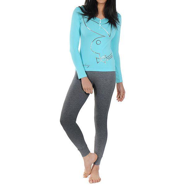 Dámské pyžamo Playboy - světle modré tričko s dlouhým rukávem a tmavě šedé legíny