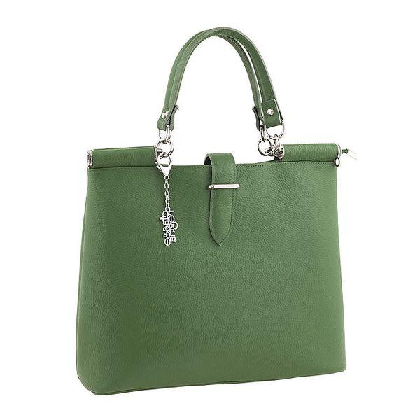 Dámská jednoduchá zelená kabelka s přívěskem Classe Regina