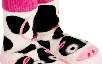 Krásné dívčí ponožky s podrážkou - kravička