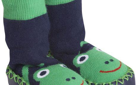 Kouzelné dětské ponožky s podrážkou - žabka