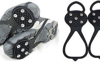 Na jakoukoliv obuv protiskluzové návleky. Návleky z pružné gumy, kterou upevníte za špičku a patu boty. Kovové hroty zabrání uklouznutí na ledu i sněhu.