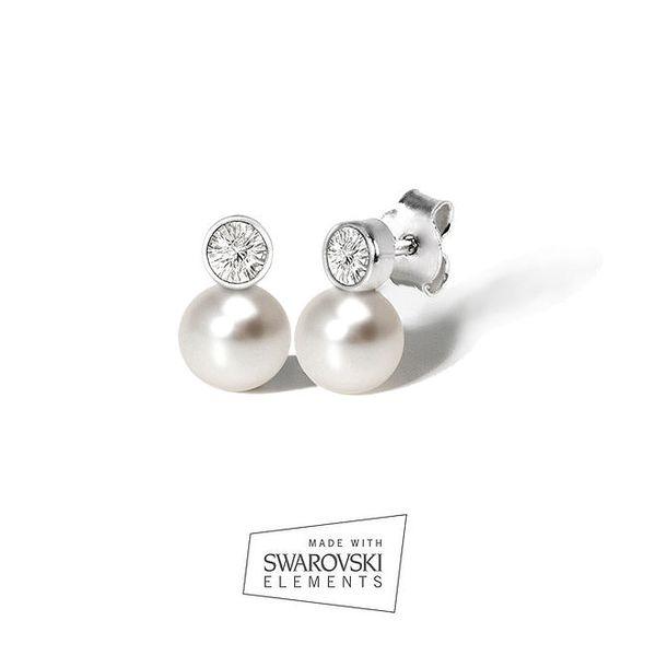 Dámské náušnice s krystalem a bílou perlou Swarovski Elements