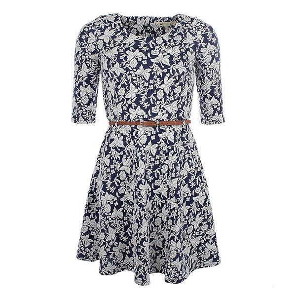 Dámské modré vzorované šaty s páskem Yumi