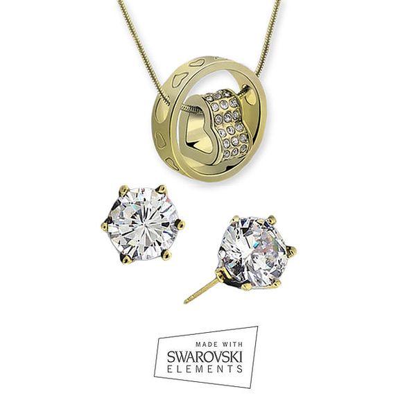 Dámská sada šperků s kamínky Swarovski Elements - jemné náušnice a náhrdelník