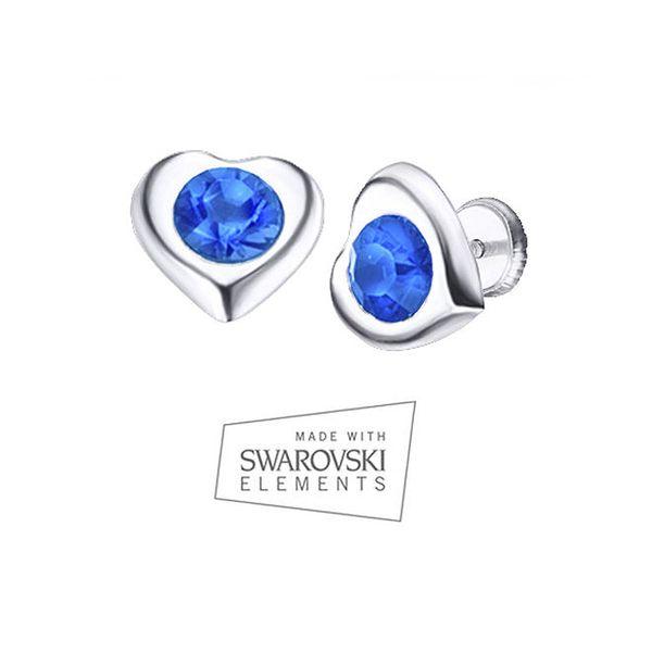 Dámské srdíčkové náušnice s modrým krystalem Swarovski Elements