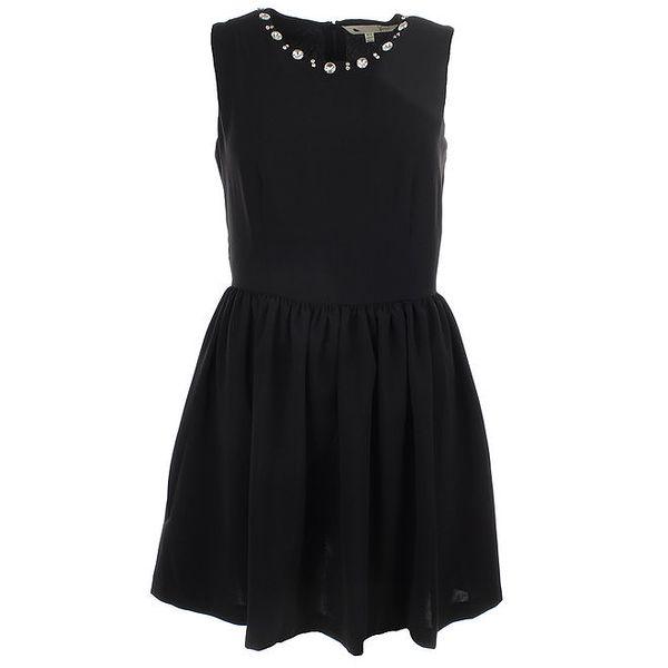Dámské černé šaty s nabíranou sukní Yumi