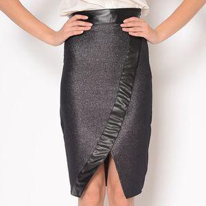 Dámská černá třpytivá sukně s výrazným pasem Santa Barbara