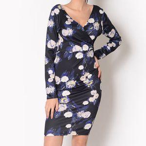 Dámské černé šaty s modro-bílými květy Santa Barbara
