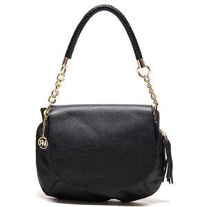 Dámská černá kožená kabelka s kombinovaným poutkem Roberta Minelli