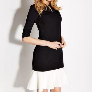 Dámské černé šaty s bílým kanýrem Rylko