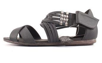 Dámské šedo-černé kožené sandály Bel canto