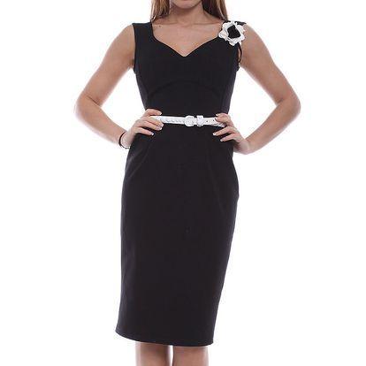 Dámské černé šaty s bílou květinou Melli London