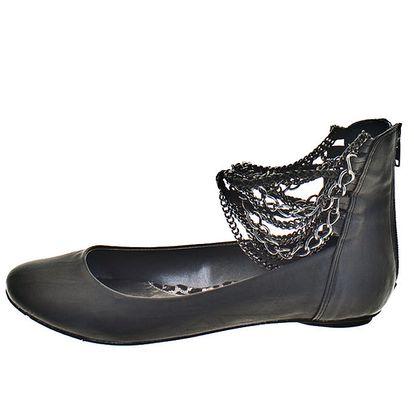Dámské černé boty s řetízky 1to3