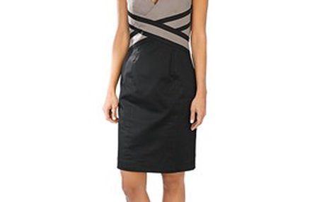 Elegantní šaty písková, černá