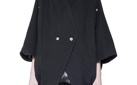 Dámský černý vlněný kabátek se širokými rukávy Gene