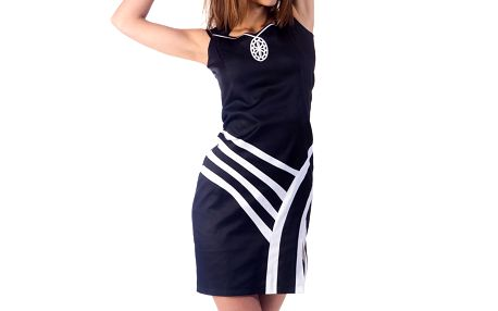 Dámské černé šaty s bílými detaily Nelita