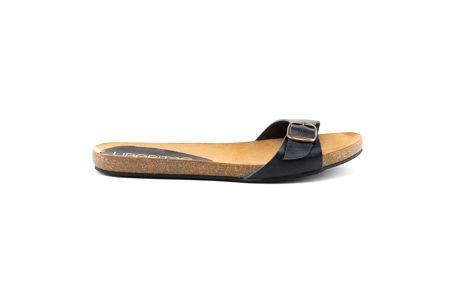 Dámské kožené pantofle s černým páskem Liberitae