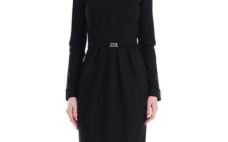 Dámské černé šaty s páskem a dlouhými rukávy Yuliya Babich