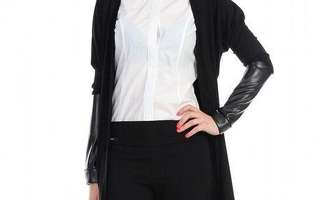 Dámský černý cardigan s koženkovými rukávy Yuliya Babich