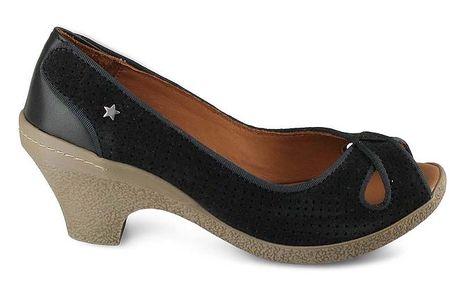 Dámské černé perforované boty Cubanas Shoes