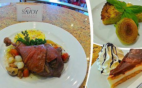 Brno - Famózní 3-chodové menu pro 2 osoby v Kavárně SAVOY v centru města Brna! Při romantické večeři vás čeká vynikající francouzský quiche, kohout na víně s kořenovou zeleninou a delikátní domácí cheesecake!