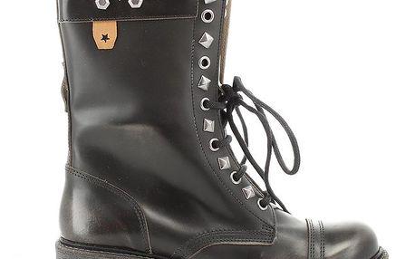 Dámské černé kožené šněrovací boty Cubanas Shoes
