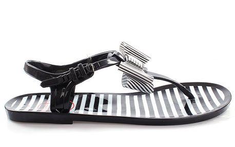 Dámské černé sandálky s bílými proužky So Real