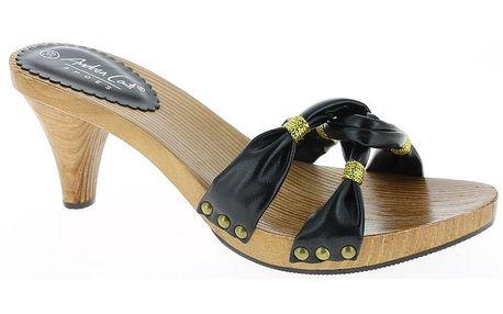 Dámské černé sandálky se zlatou nití Andrea Conti