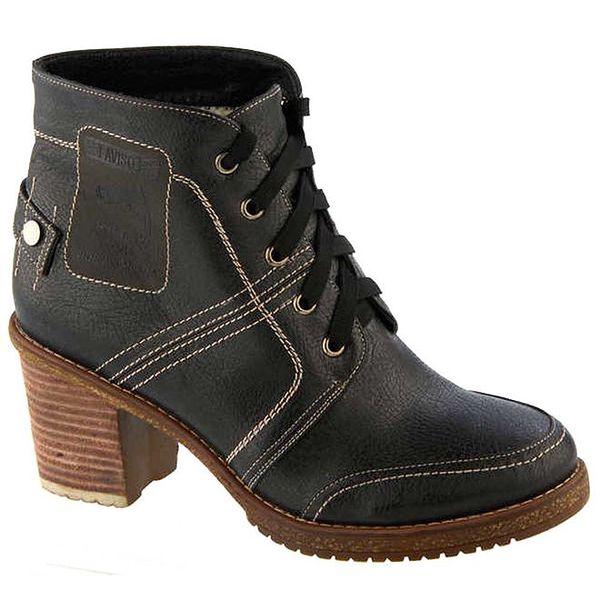 Dámské černé prošívané boty na podpatku s tkaničkou Betsy