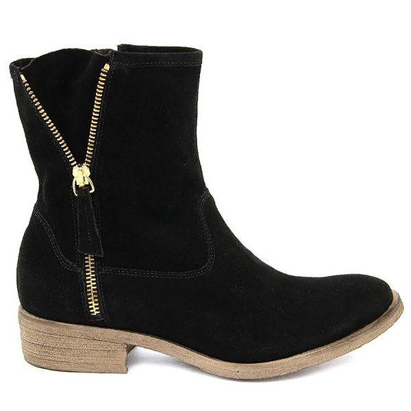 Dámské černé semišové kotníkové boty Giorgio Picino