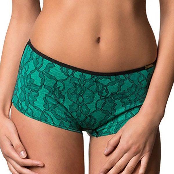 Dámské zeleno-černé kraťáskové kalhotky s krajkovým potiskem Sapph