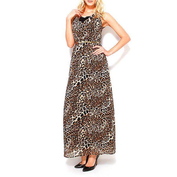 Dámské černo-hnědé šaty s leopardím vzorem Dewberry
