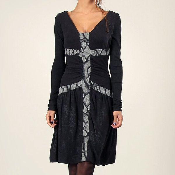 Dámské černé šaty s šedými proužky Angels Never Die